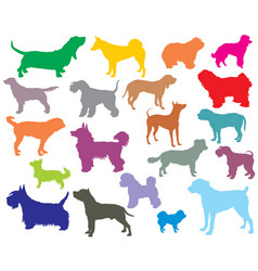 set of colorful dogs silhouettes-5 vector image