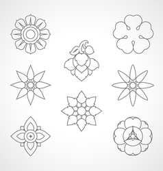 Set thai flower symbol vector
