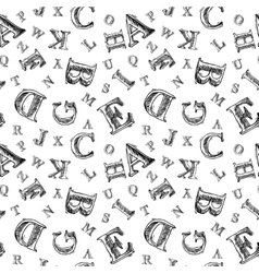 Sketch alphabet seamless pattern vector image vector image