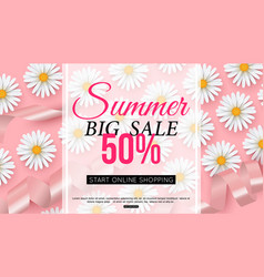 Summer sale banner with daisy flower on pink vector