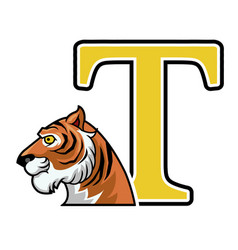 tiger initial vector image