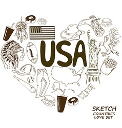 Usa symbols in heart shape concept vector
