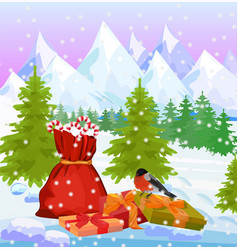 winter mountains nature background with santas bag vector image