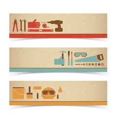 Worker equipment banners set vector