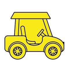 Yellow golf cart side view graphic vector