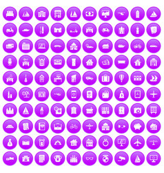 100 property icons set purple vector image vector image