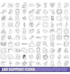 100 support icons set outline style vector