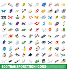 100 transportation icons set isometric 3d style vector image vector image