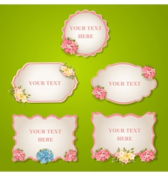 Set - vintage labels with flowers vector