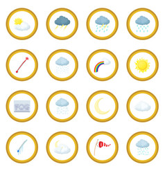 weather set icon circle vector image