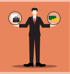Work or money businessman scale vector