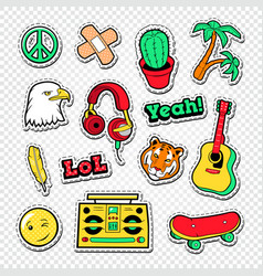 Teen style stickers badges and patches vector