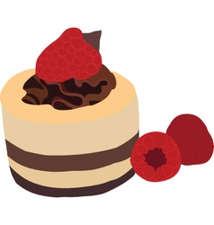 Raspberry mousse cake vector