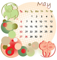 2012 calendar may vector image