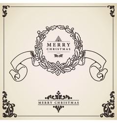 Vintage Christmas card Wreath vector image