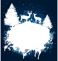 Winter forest grunge paint design vector