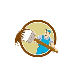 House painter giant paintbrush cartoon vector
