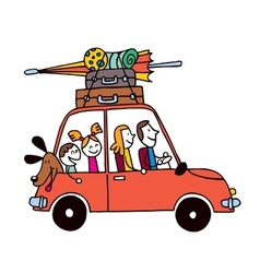 Family of four vacation car with luggage travel vector
