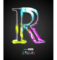 Design light effect alphabet letter r vector