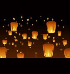 Chinese lanterns in the night sky vector
