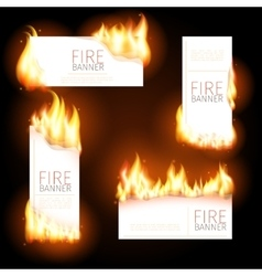 Set of advertisement banners with spurts flame vector
