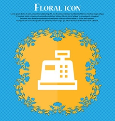 Cash register floral flat design on a blue vector