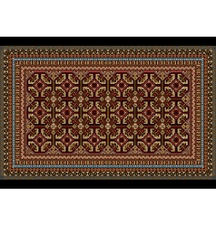 Ornament for an old carpet in red and maroon hues vector image