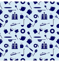 Seamless pattern with elements of kitchen utensils vector