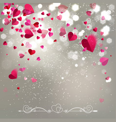 Background of falling hearts vector