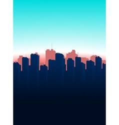 Contour of the big city on a blue background vector