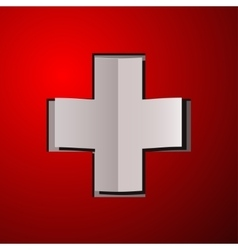 White cross with red back - sticker or card - vector image