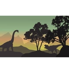 Silhouette of brachiosaurus and t-rex in hills vector