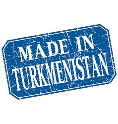 Made in turkmenistan blue square grunge stamp vector