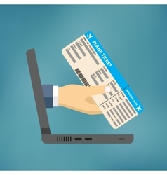 Hand coming out of the laptop with ticket vector