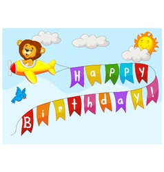 Birthday background with lion on plane vector image vector image