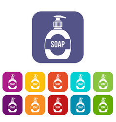 Bottle of liquid soap icons set vector