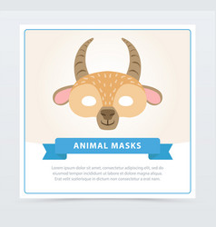 Carnival mask of antelope with horns cute animal vector