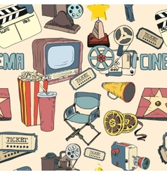 Colored doodle cinema seamless wallpaper vector image