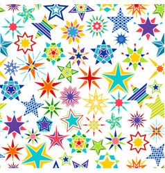 colorful cartoon stars decorative pattern vector image