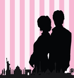 couple with historic monument color vector image