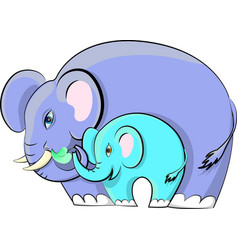 elephant with a baby elephant vector image vector image