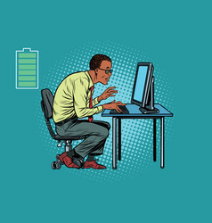 Energy for work office businessman at computer vector