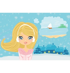 Girl dreaming about summer vector image vector image