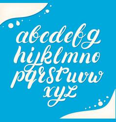 Hand written lowercase alphabet made of milk vector