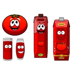 Happy natural tomato juice cartoon characters vector