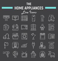 home appliances line icon set technology symbols vector image vector image