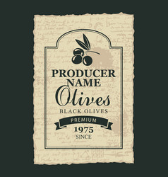 Label for black olives with a branch and olives vector