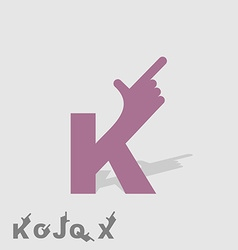 Letter k logo letters with a hand finger pointing vector