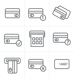 Line Icons Style black credit cart icons set vector image