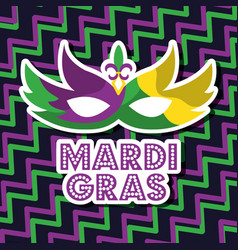Mardi gras carnival mask with feathers geometric vector